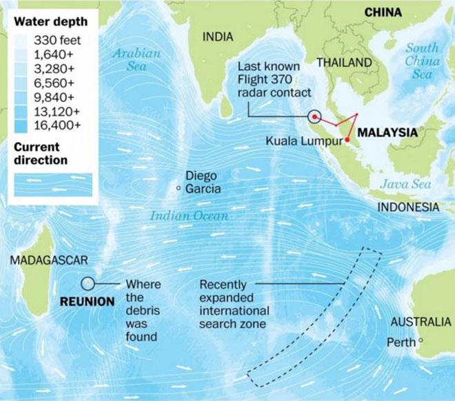 mapa sobre el vuelo MH370