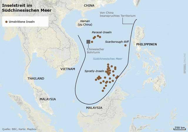 mapa de la zona en disputa en el Mar del Sur de China