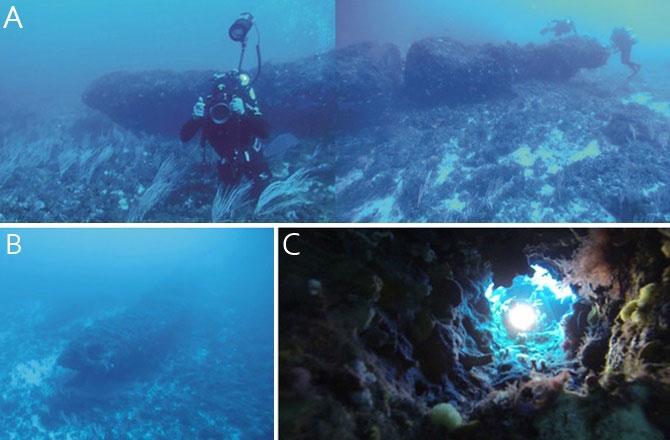 monolito sumergido en el Canal de Sicilia