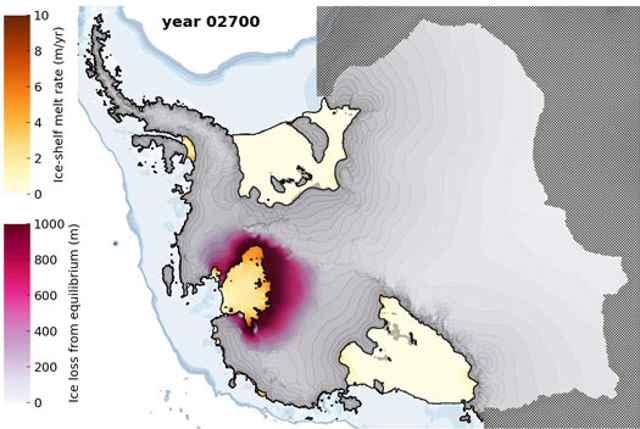 nivel de deshielo en la Antártida Occidental en el año 2700