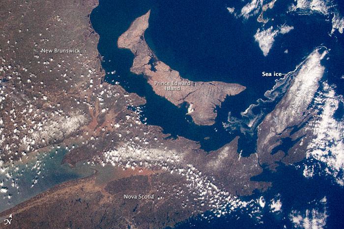 Nueva Escocia y la Isla del Príncipe Eduardo desde el espacio, detalle