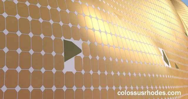 nuevo Coloso de Rodas recubrimiento de células solares