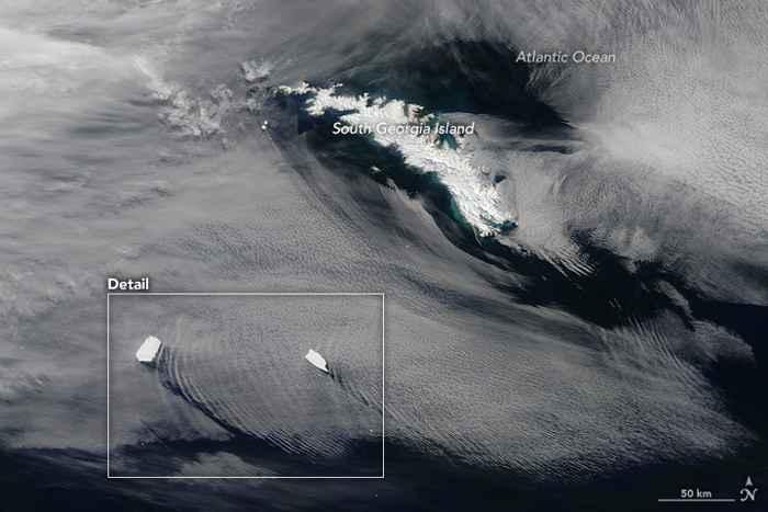 Icebergs crean ondas en la atmósfera cerca de Georgia del Sur