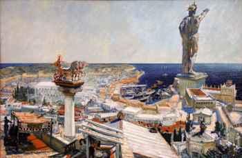 pintura del antiguo Coloso de Rodas