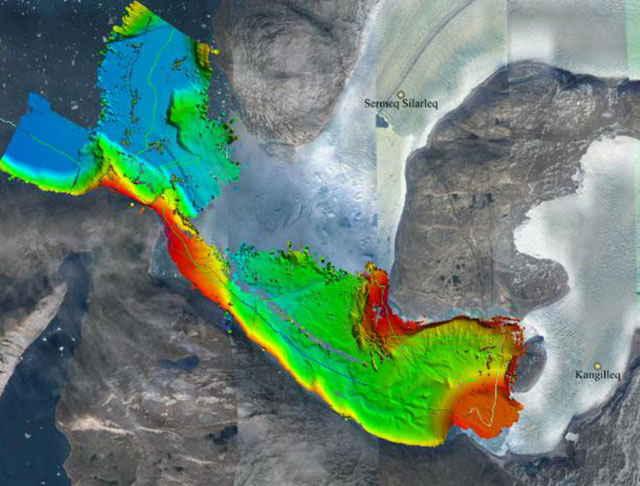 profundidades del fondo marino en Groenlandia