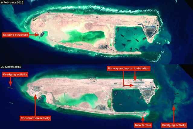 recuperación de terrenos por China en las Spratly Islands