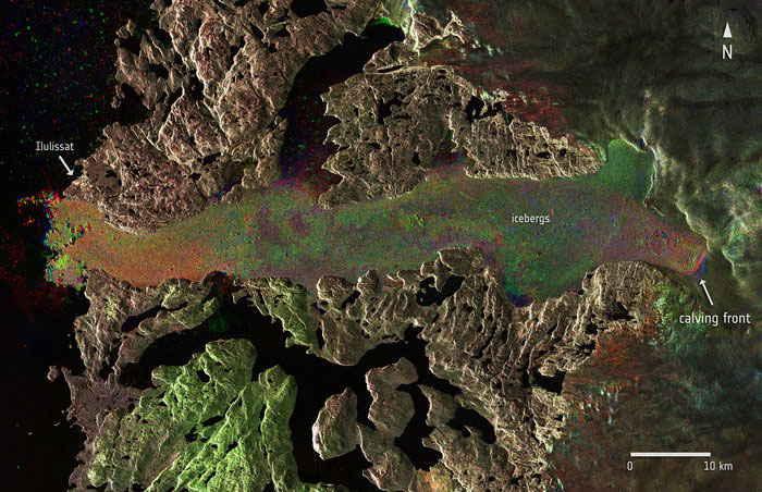 retroceso del glaciar Jakobshavn en Groenlandia