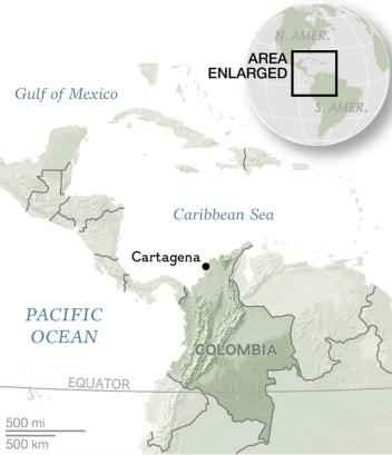 situación en el mapa de Cartagena, Colombia