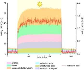 el sol produce en la superficie del mar compuestos orgánicos