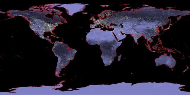 mapa de la subida del nivel del mar en 6 metros
