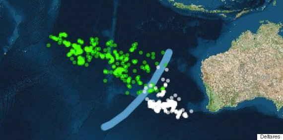 simulación del viaje de los escombros del MH370