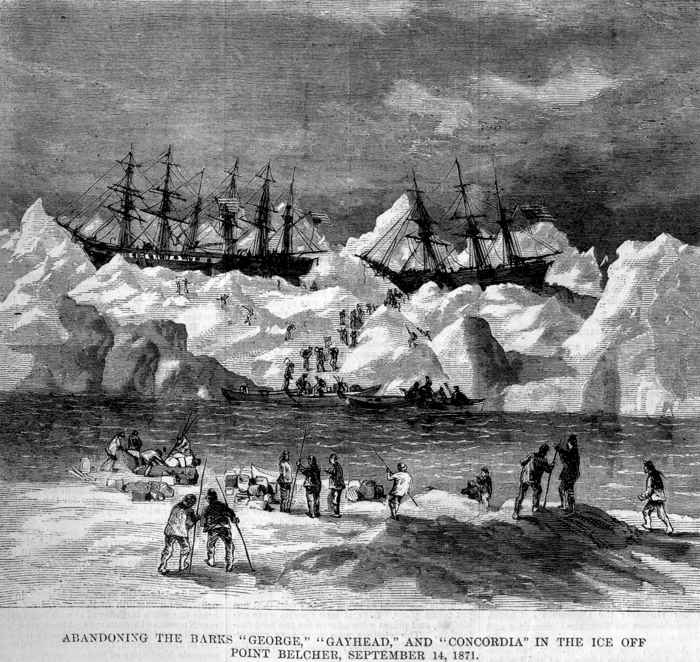 abandono de barcos balleneros en el Ártico en 1871