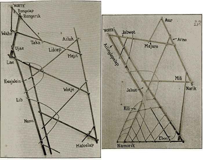 antiguos mapas de palos de Micronesia