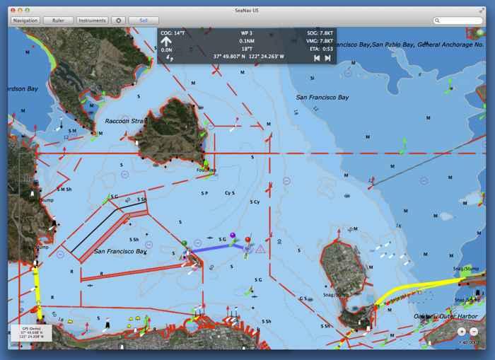 carta náutica en una App