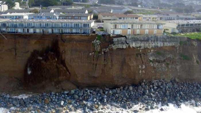 derrumbe de un acantilado de California