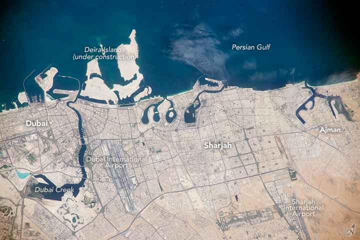 Emiratos Árabes Unidos del Golfo Pérsico desde la Estación Espacial
