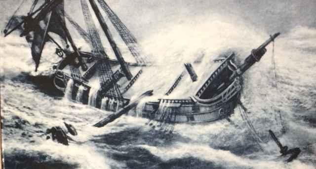 galeón golpeado por un huracán