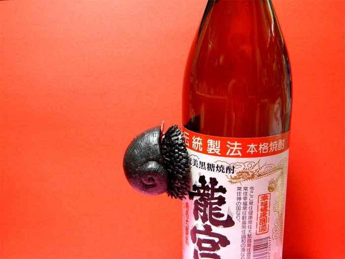 gasterópodo de pie escamoso pegado a una botella