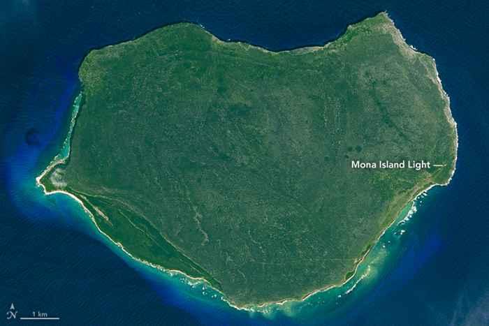 la isla de Mona, Puerto Rico desde satélite
