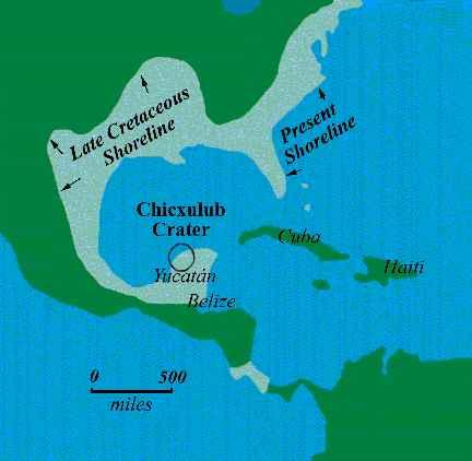 situación del cráter de Chicxulub