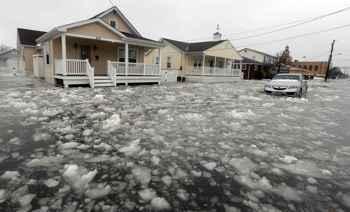 inundaciones por la tormenta de nieve en la costa este de EE.UU.