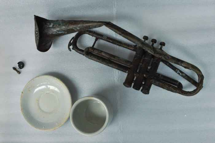 trompeta encontrada en el USS Houston