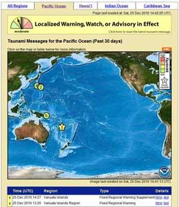 alerta de tsunami Vanuatu, 25 dicembre de 2010