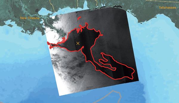 área contaminada por petróleo en el Golfo de México