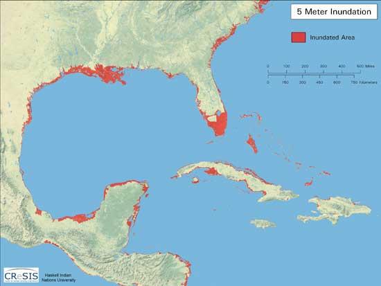 aumento de 5 metros del nivel del mar en el Golfo de México