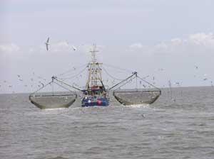 barco cangrejero en el Mar del Norte