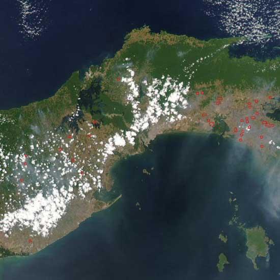 Canal de Panamá, vista de satélite