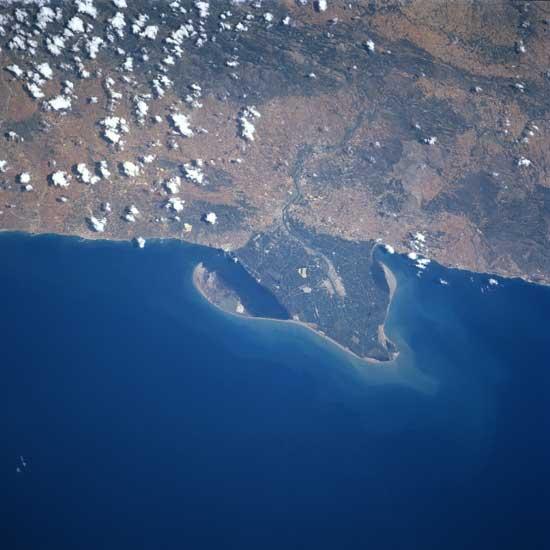 Delta del Ebro desde satélite