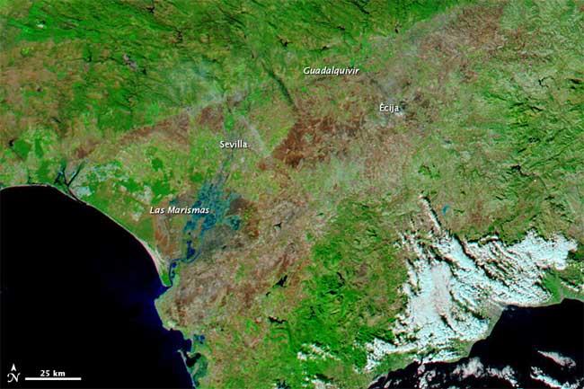 imagen satélite Aqua de la NASA, Andalucía 2009