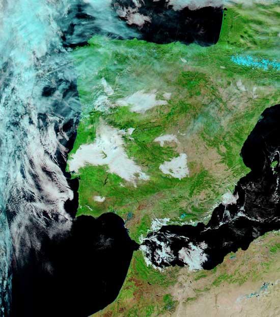 imagen satélite Aqua de la NASA, Península Ibérica 2009