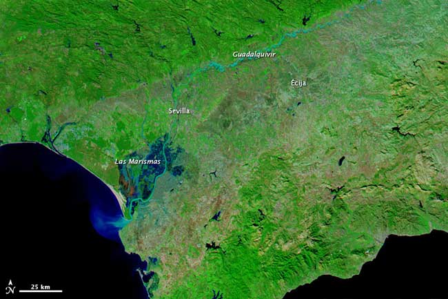 inundaciones Andalucía, diciembre 2010 imagen NASA