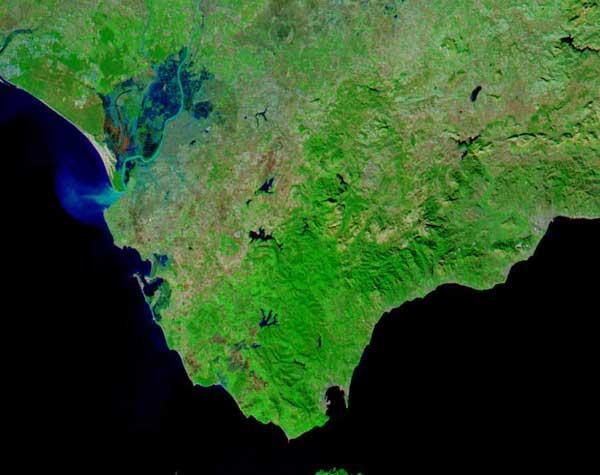 inundaciones ríos Genil y Guadalquivir, diciembre 2010 imagen NASA Andalucía