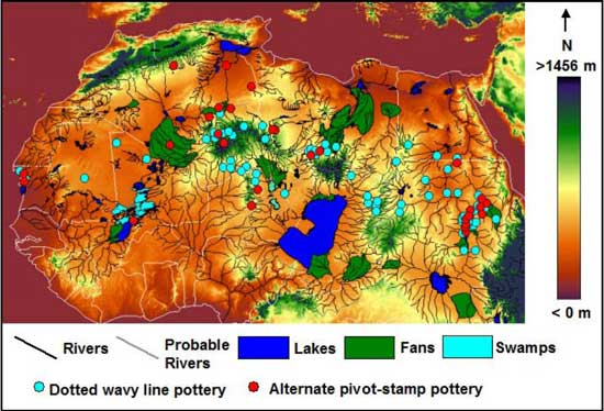 mapa cauces antiguos de agua en el Sahara