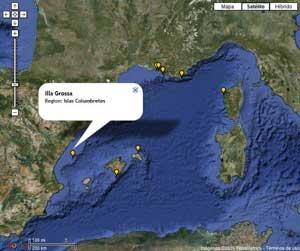 mapa de las estaciones de temperatura en el Mediterráneo, islas Columbretes