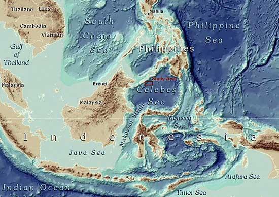mapa del Mar de Célebes