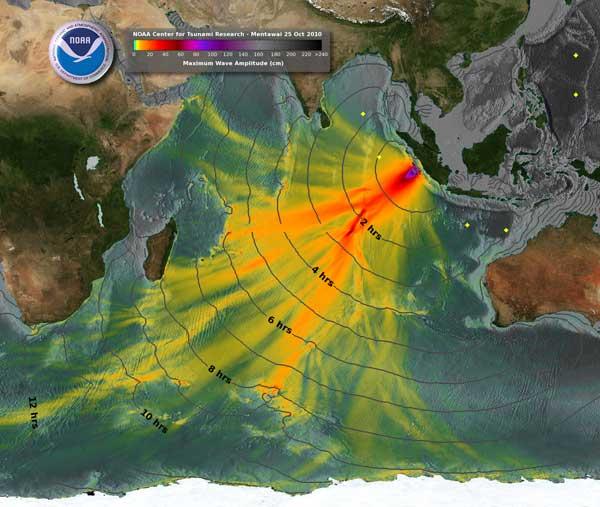 mapa de la NOAA evolución del tsunami de Sumatra octubre 2010