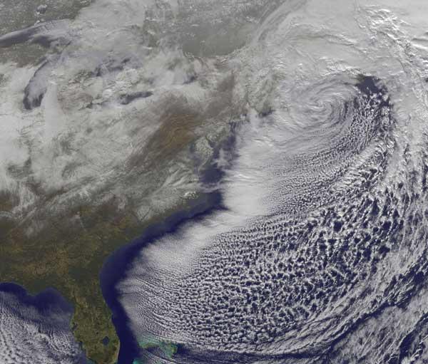 nevadas costa este de EE.UU desde satélite
