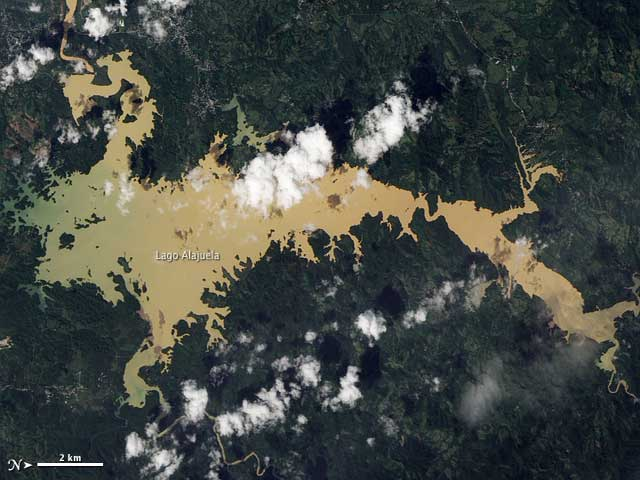 Panamá, lago Alajuela imagen de satélite