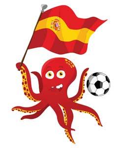 El pulpo Paul con la bandera de España