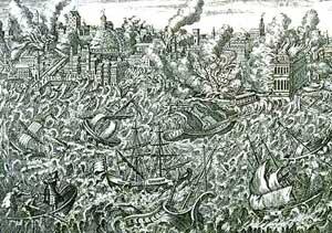 grabado del terremoto y tsunami en Lisboa de 1755