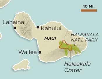 Cráter Haleakala, mapa