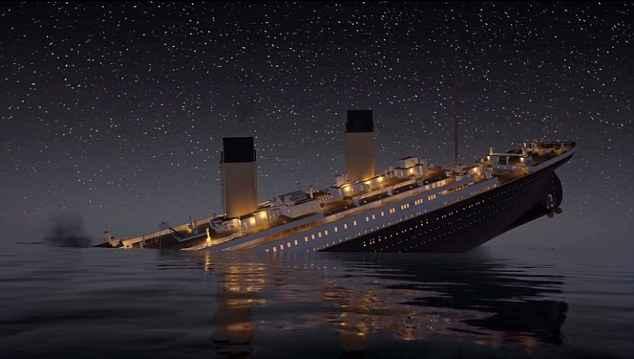 animación del hundimiento del Titanic