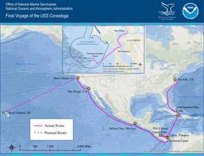 ruta del USS Conestoga
