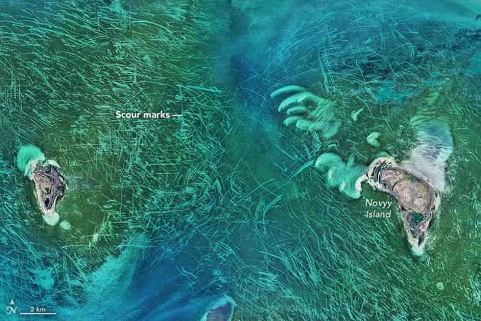 líneas en el fondo del Mar Caspio causadas por el hielo