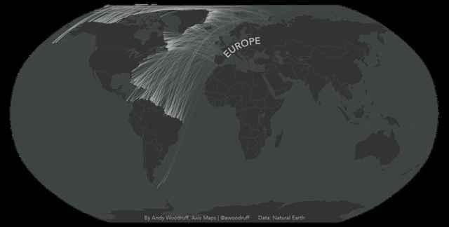 líneas de visión frente a la costa en el mapa de Europa