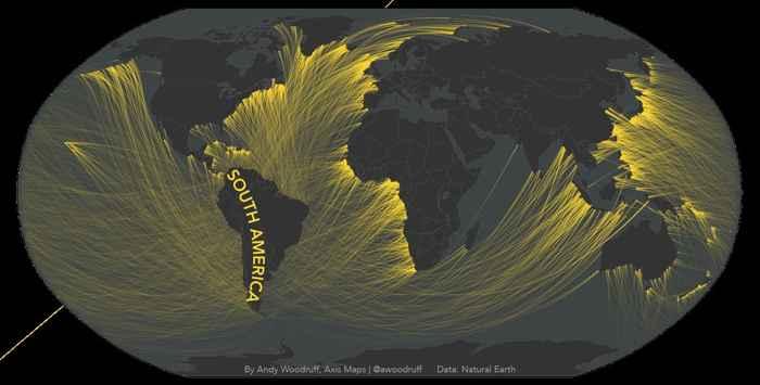 líneas de visión frente a la costa en el mapa de Sudámerica